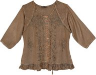 Plus Size Rustic Brown Blouse with Embroidered Motifs