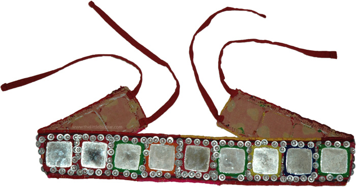 Indian Belly Dance Square Mirror Buttons Belt, Banjara Big Mirrors and Sequins Belt