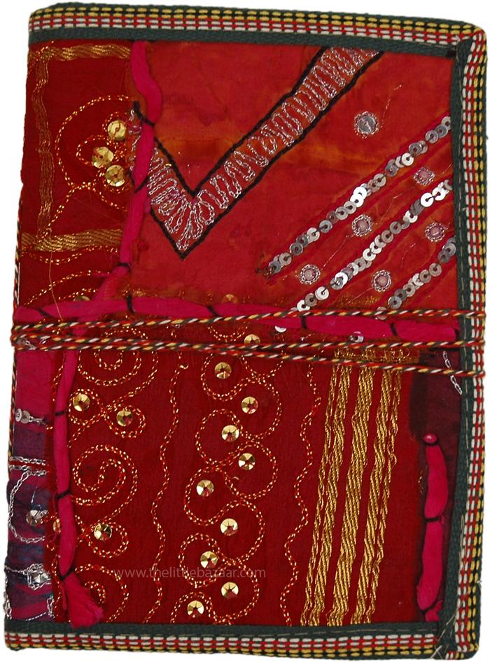 Handmade Art Journal Gift For A Spiritual Friend, Ornate Spiritual Fabric Diary Journal with Sequins XL