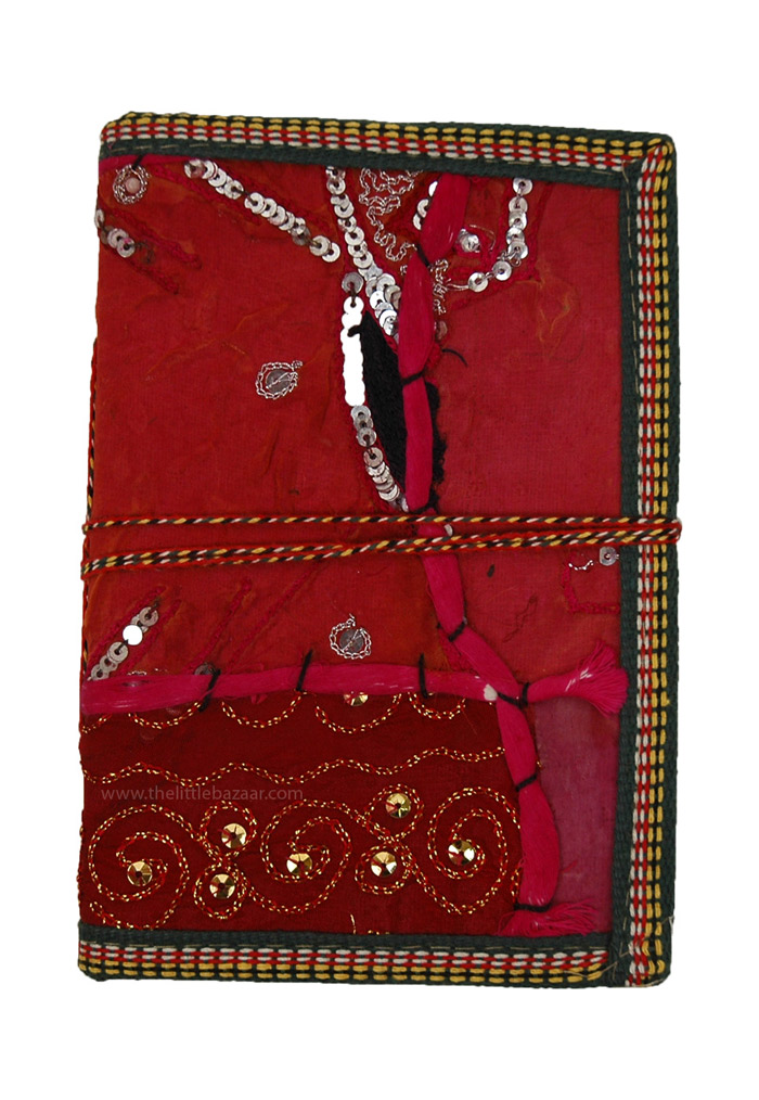 Sari Cover Patchwork Notebook, Recycled Vintage Cloth Patchwork Notebook L