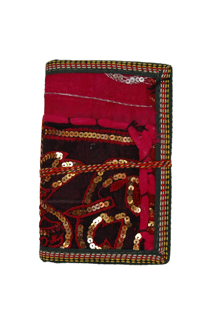 Easy Carry Handmade Paper Purse Notebook, Handmade Ethnic indian Patchwork Embroidery Journal M
