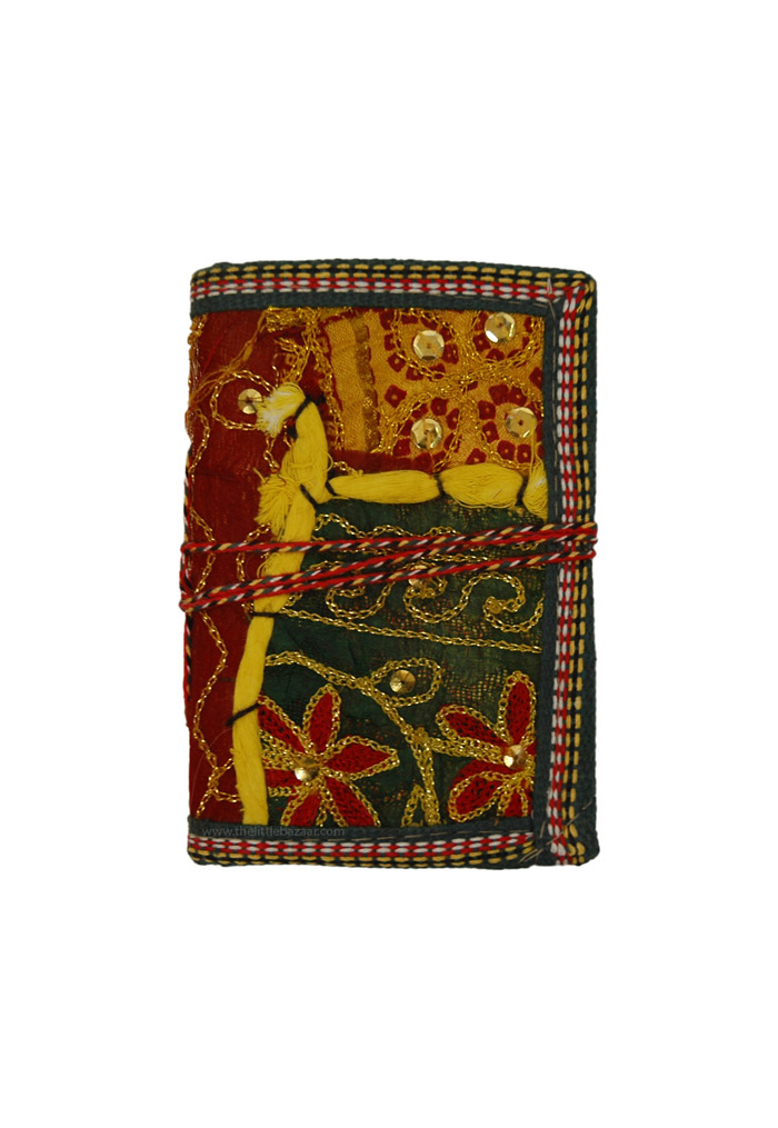 Sari Fabric Covered Notebook for Gifts, Recycled Patchwork Cloth Eco Friendly Notebook S
