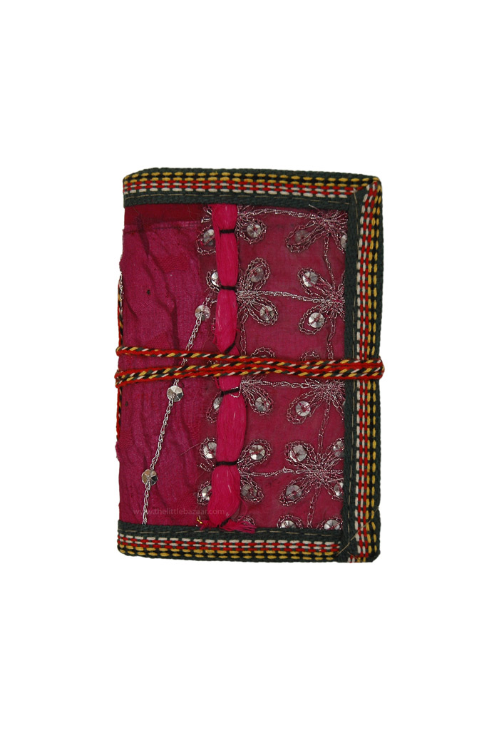 Small Pocket Notebook with Vintage Sari Fabric S