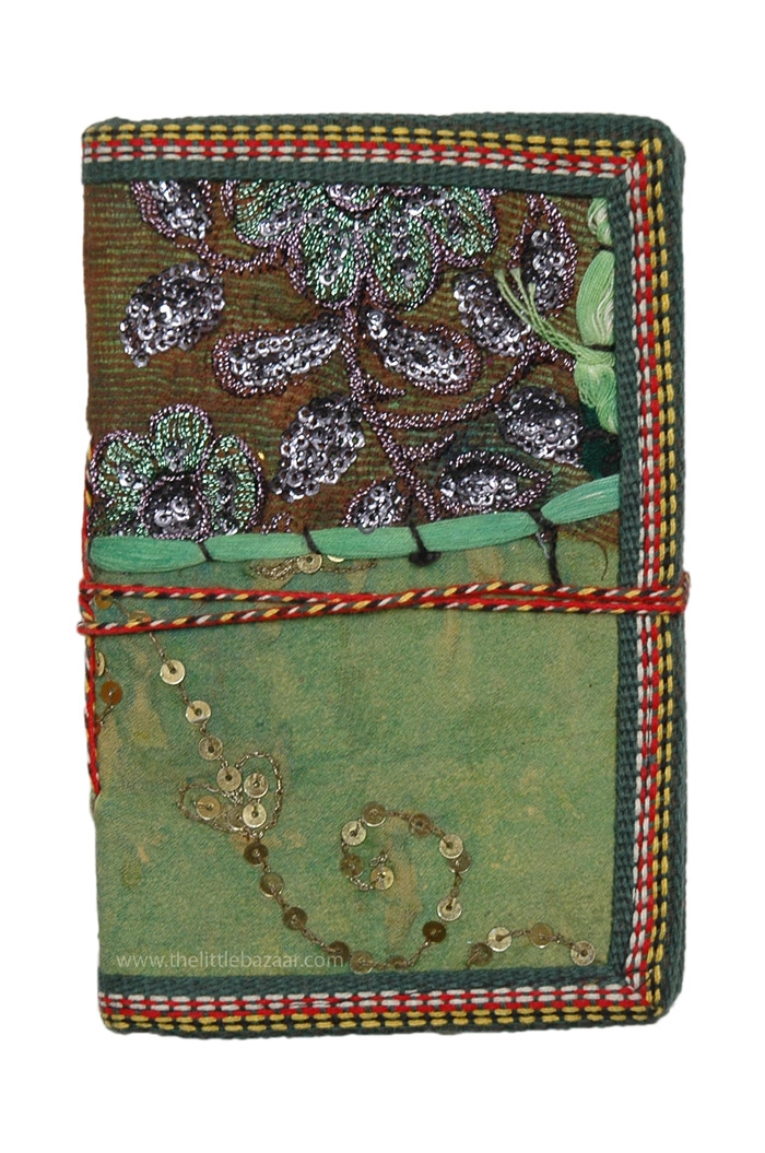 Sari Patchwork Sequined Handmade Pocket Notebook M